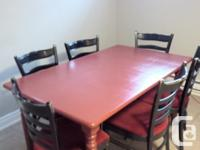 7 Pcs dining table set. Solid wood table and chairs.