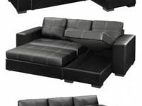 2pcs Sectional Sofa Bed  Sofa And Storage Chaise  Black