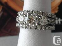 Remarkable diamond engagement set in a 14k white gold