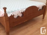Solid oak and maple bed, 75 years old, made in U.S.A.