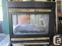 3 sided gas fireplace. Brand is Heat-N-Glo. Design is