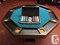 Bumper pool table with 2 cues, pool balls / poker table