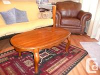Oak Oval Coffee Table with couch table and end table