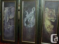 3 jungle animal pictures to sell. Elephant, Zebra and