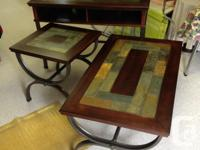 Rustic Barn/Slate Wrought Iron style 3 piece table set.
