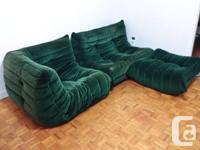 3-piece designer sofa, green, of scandinavian origin