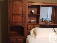 Oak wood - 2 side cupboards with shelves and drawers,