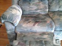 Lovely 3 seater velour Reclining double sofa. Fabric in