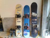 3 boards for sale with bindings and 3 sets of boots ( 2
