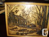 $30 each. 3 different designs of wood burning images,