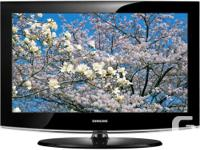 """- 32"""" Samsung flat panel TV, complete with remote & TV"""