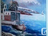 """""""Greek Island Village"""" - Original European Artist Oil"""