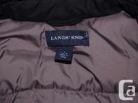 Lands End black down long commuter coat with hood Size