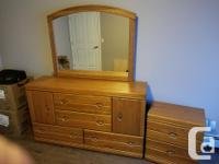 Queen Size Bed with Oak Dresser and one night table