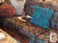 Sofa & Loveseat in mint condition - teal, rose & blue
