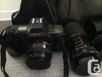 35mm Canon T70, accessories includes: Vivitar zoom Elle