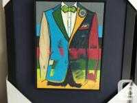Set of 2 men's framed fashion pics. 3 dimensional. 18 x