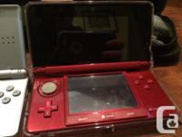 Red 3DS and Silver DS Lite with 2 Cases, spare