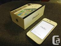 White iphone 4, 16gb with Telus. Bought this phone new,