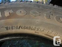Complete set of four Firestone 185/60R15 84T M+S all