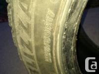 Set of 4 blizzak snow tires 225/50/17.  Rotated each