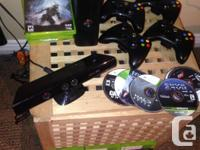 XBOX 360, Kinect, 250GB Black Console., 4 Controllers.