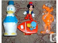 Group of 4 Disney toys: Mickey Mouse 3 inch figurine,