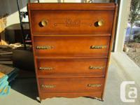 # Walnut 4 drawer dresser -  $90  Nice design &