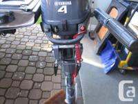Yamaha 4 HP, four stroke outboard motor. Bought new at