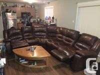 mahogany 4 piece leather sectional w/end