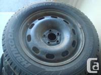 Set of Used Hankook Winter I-Pike Tires,195/65R15, 91T.