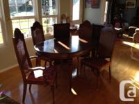 """42""""X60"""" oblong oak table with 2 18"""" leaves, 2 captain"""