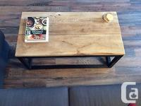 Hand crafted coffee table. Flat black paint steel