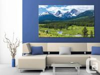 Large canvas print panoramic with a mountain stream in