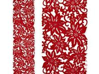 """Set two Pieces 47"""" Cutout Felt Red Poinsettia Table"""