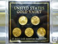 Five Gov't Issued $5 American Eagle Gold Coins in