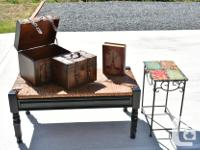 5 decor pieces for $100.00 The bench is 4 feet long and