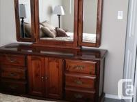 Dresser and mirror, high boy chest, 2 night stands. All