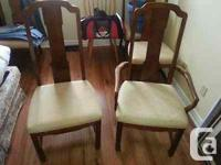 5 OAK (WE THINK) DINING ROOM CHAIRS. 4 PLUS ONE