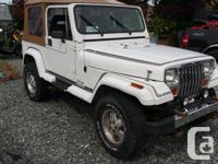 Make Jeep Model YJ Year 1990 Colour White kms 228000