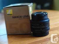 For sale one mint condition 50mm Nikkor 1.8 AF-D lens.
