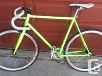 Selling a green fixed gear with track specs, some brand