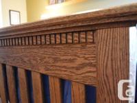 6 Piece Custom Built Sold Oak Bedroom Suite Includes 9