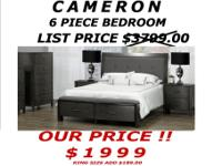 CAMERON 6 PIECE BEDROOM SET QUEEN SIZE SAVE OVER $700
