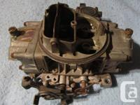 Spread Carried Holley 650 cfm carburetor. Double pumper