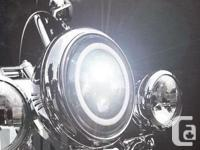 """7"""" BLACK PROJECTOR LED HEAD LIGHT WITH LED WHITE HALO"""