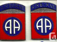 US Army 82nd Airborne Division DUI Pair Typical US DUI