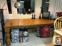 Older table. 7 foot Heavy solid oak dining table