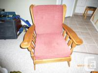 3 Seater couch, 1 rocking chair with ottoman, 1 chair,
