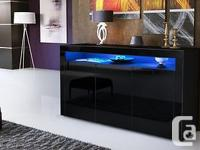 Modern Sideboard Valencia in Black High Gloss FREE